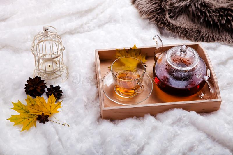 Cup of tea and teapot in wooden tray on the bed. autumn home scene, Scandinavian style. A warm knitted sweater, candles and other royalty free stock image