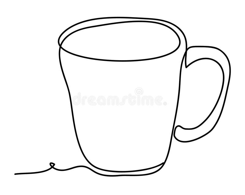 Cup of tea Vector illustration isolated on white background. Continuous line drawing. Vector monochrome, drawing by stock illustration