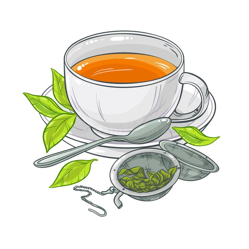 Cup of tea. Vector illustration with cup of tea, tea spoon and tea-strainer on color background
