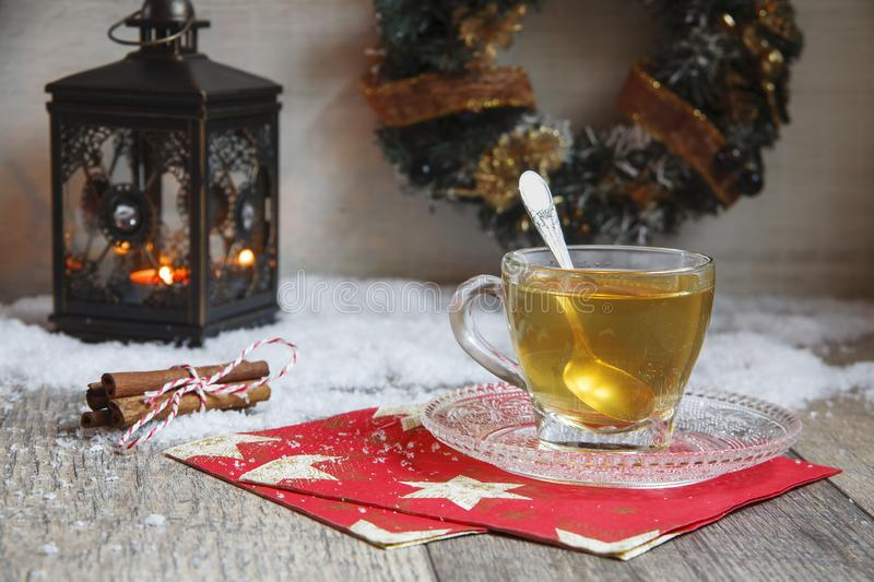Cup of tea on wooden table stock photos
