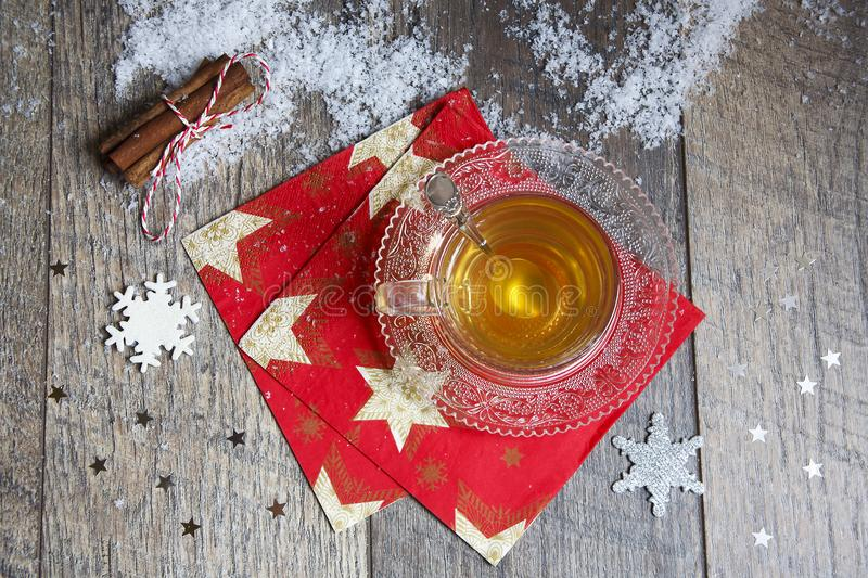 Cup of tea on wooden table royalty free stock photos