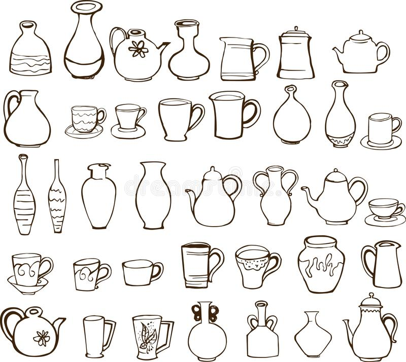Cup and teapot design elements