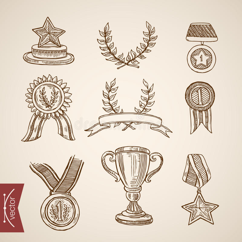 Cup trophy medal win winner attribute engraving vintage vector stock illustration