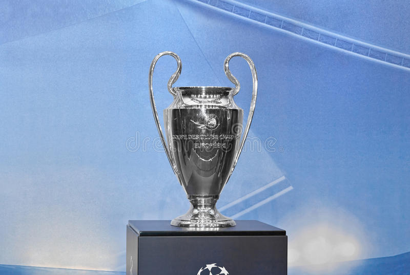 Cup of UEFA Champions League. UEFA Champions League trophy on a blue background stock photo