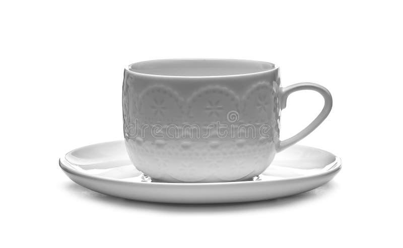 Cup und Saucer auf einem weißen Hintergrund stockfoto