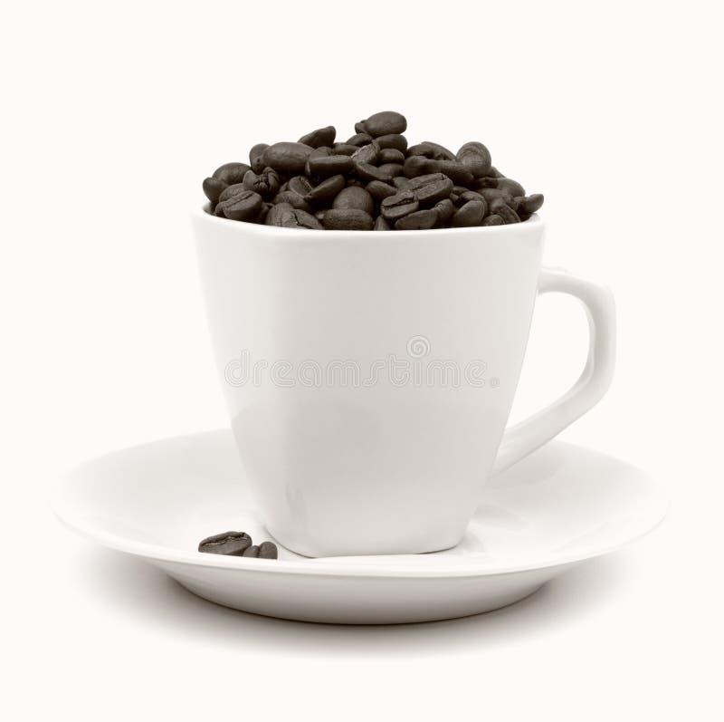 Cup und Saucer mit Kaffeebohnen stockfotografie