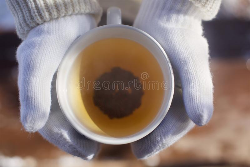 A Cup of warm tea. Man`s hands holding a Cup of warm tea. Hands in knitted gloves stock photography