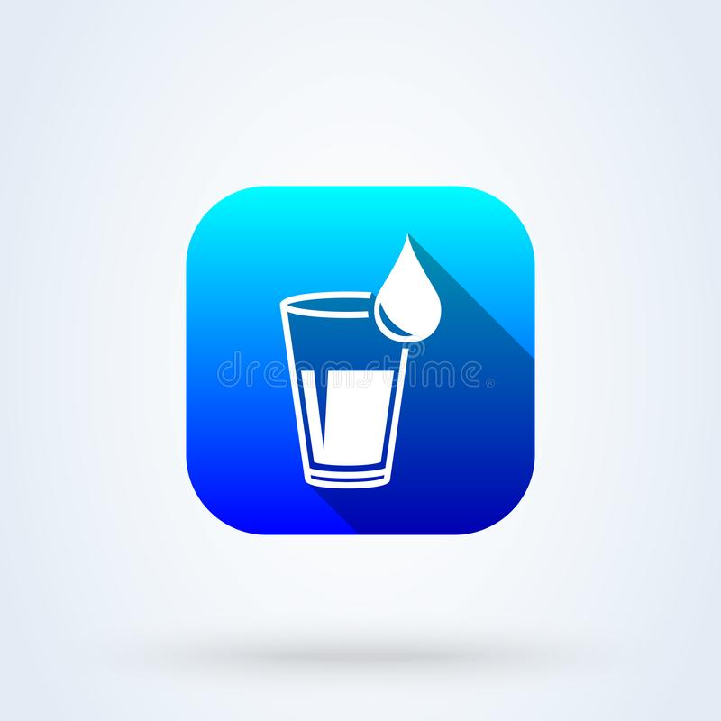 Cup and water drop. Simple vector modern icon design illustration stock illustration