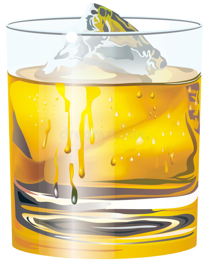 Cup of whisky. With ice vector illustration