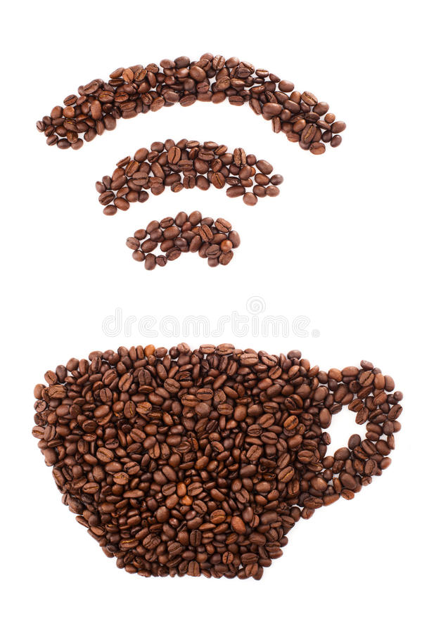 Cup with wi-fi shape made of coffee beans over white background stock image
