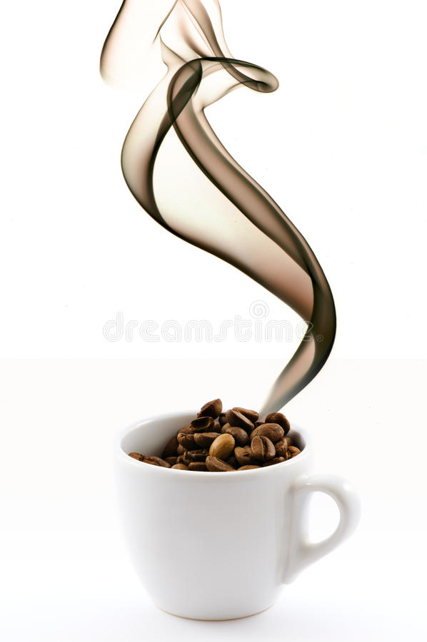 Free Cup With Coffe Beans And Smoke Stock Photos - 10398373