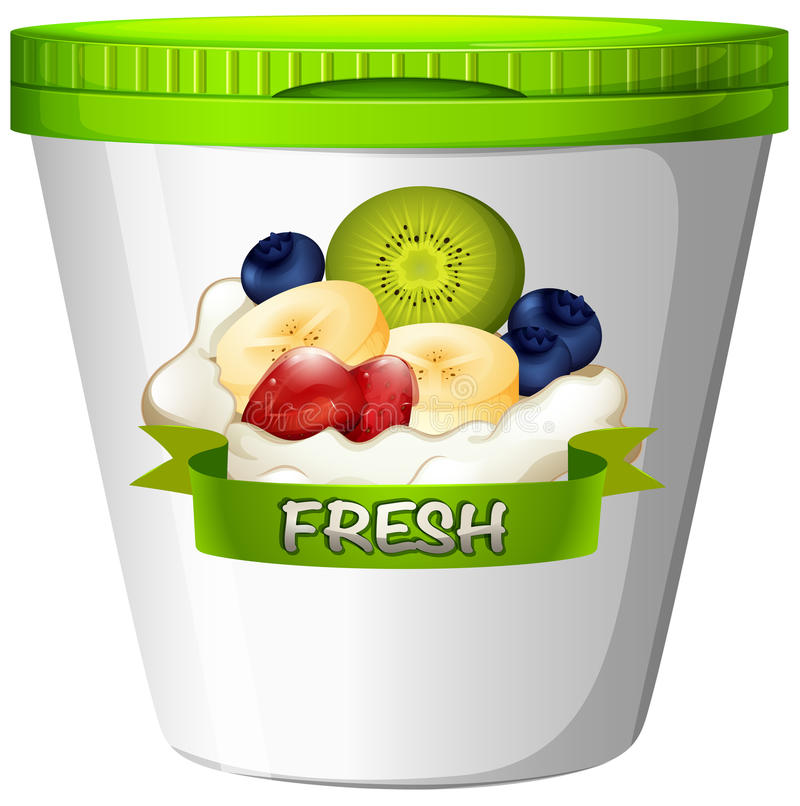 Cup of yoghurt with fresh fruits royalty free illustration