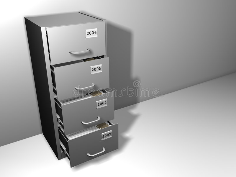 Cupboard. With last four years label on drawers and files inside - 3d render royalty free illustration