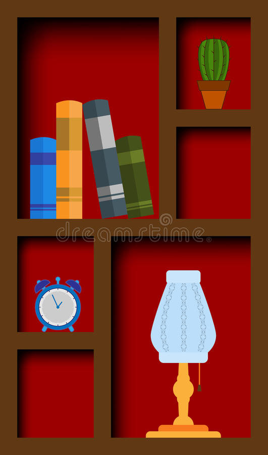 Cupboard. With books and items. EPS10 vector illustration