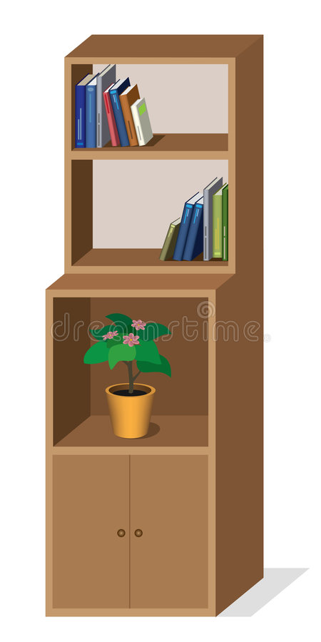 Cupboard with bookshelves. Vector illustration of cupboard with flower and books royalty free illustration