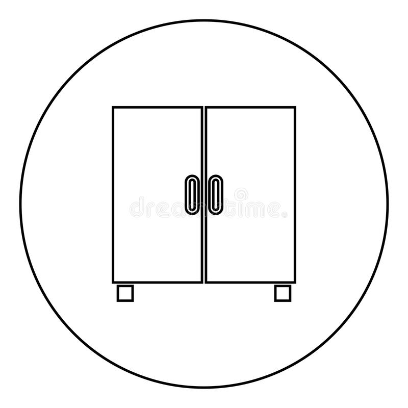 Cupboard or cabinet black icon outline in circle image vector illustration