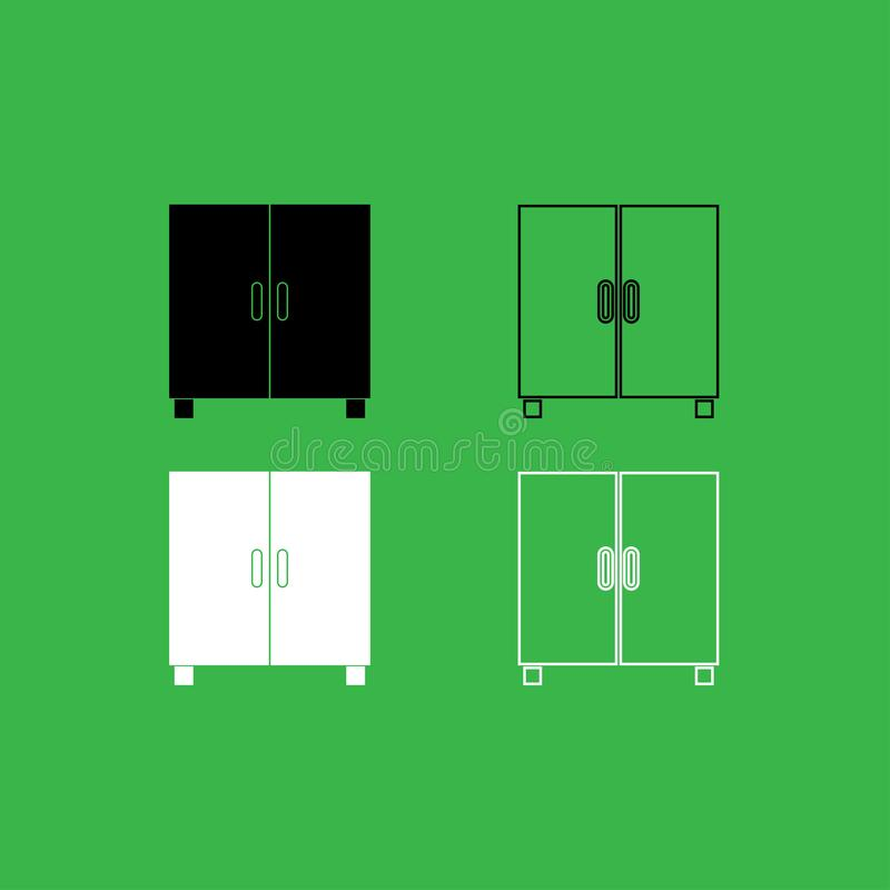 Cupboard or cabinet icon Black and white color set stock illustration