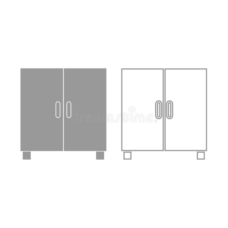 Cupboard or cabinet icon. Grey set . royalty free illustration