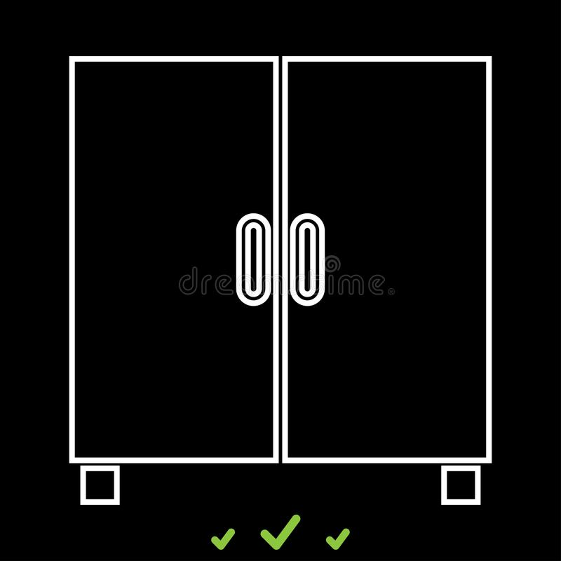 Cupboard or cabinet it is white icon . stock illustration