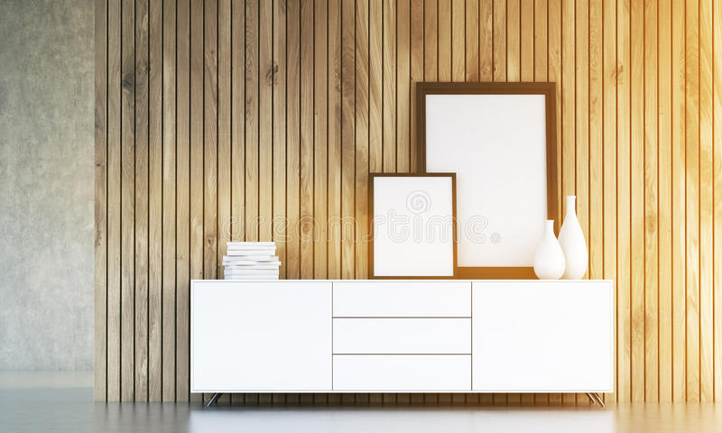 Cupboard with frames toning. Interior design with blank picture frames, vases and books on white cupboard with wooden plank wall in the background. Toned image vector illustration
