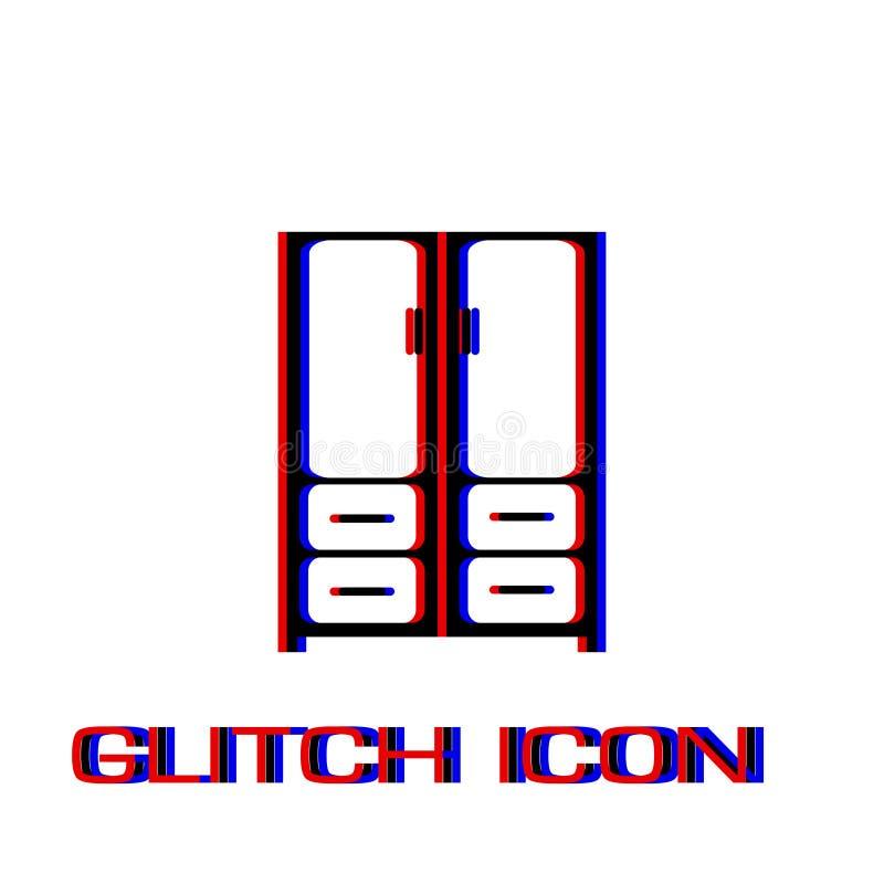 Cupboard icon flat. Simple pictogram - Glitch effect. Vector illustration symbol stock illustration