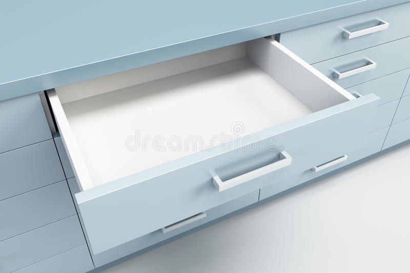 Cupboard with opened drawer stock illustration
