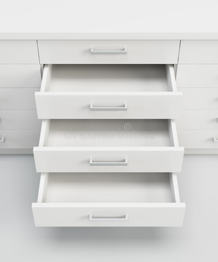 Cupboard with opened drawers stock illustration