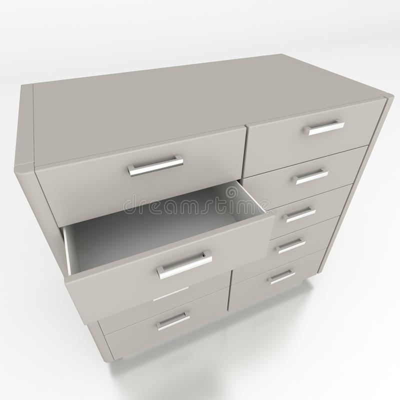 Cupboard with opened empty drawer stock illustration