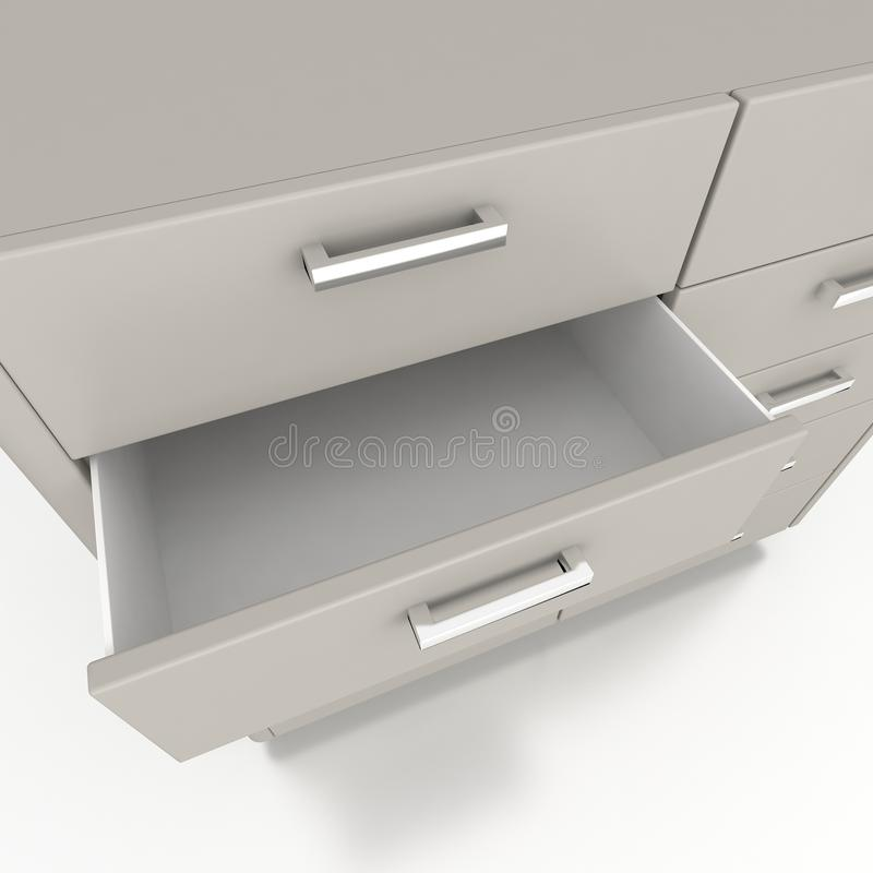 Cupboard with opened empty drawer. 3d vector illustration