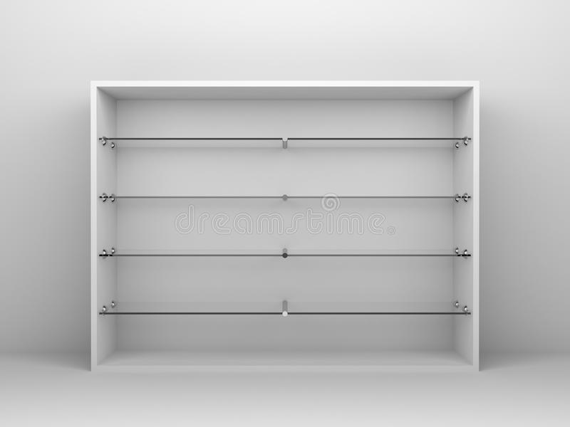 Cupboard Shelf Background. 3d render background of white cupboard shelves. The shelves are made of glass vector illustration