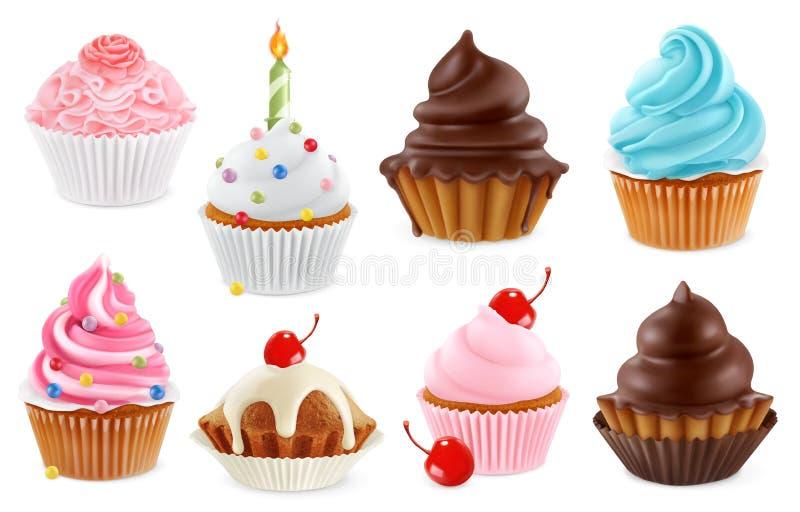Cupcake, κέικ νεράιδων τρισδιάστατο διανυσματικό σύνολο εικονιδίων ελεύθερη απεικόνιση δικαιώματος
