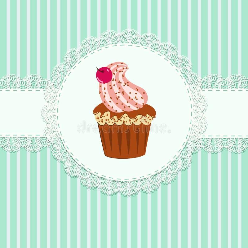 Cupcake και δαντέλλα ελεύθερη απεικόνιση δικαιώματος