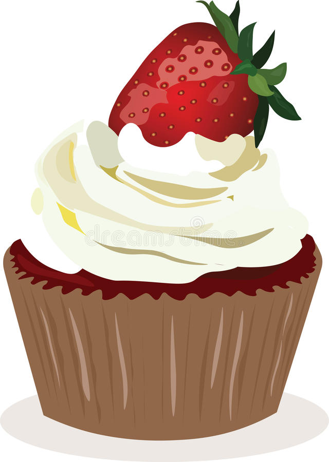 Cupcake με κτυπημένη τη φράουλα κρέμα διανυσματική απεικόνιση