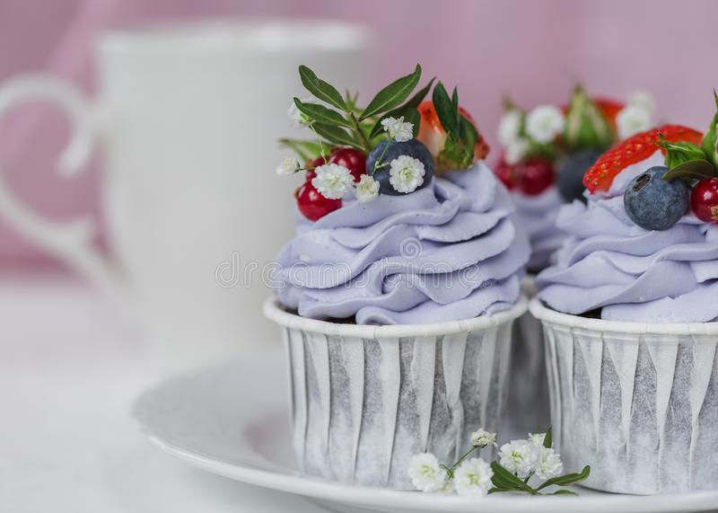 Cupcake με τα μούρα και το mascarpone στοκ εικόνες