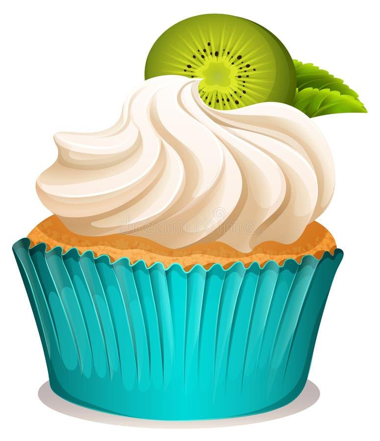 Cupcake με τα φρούτα κρέμας και ακτινίδιων ελεύθερη απεικόνιση δικαιώματος
