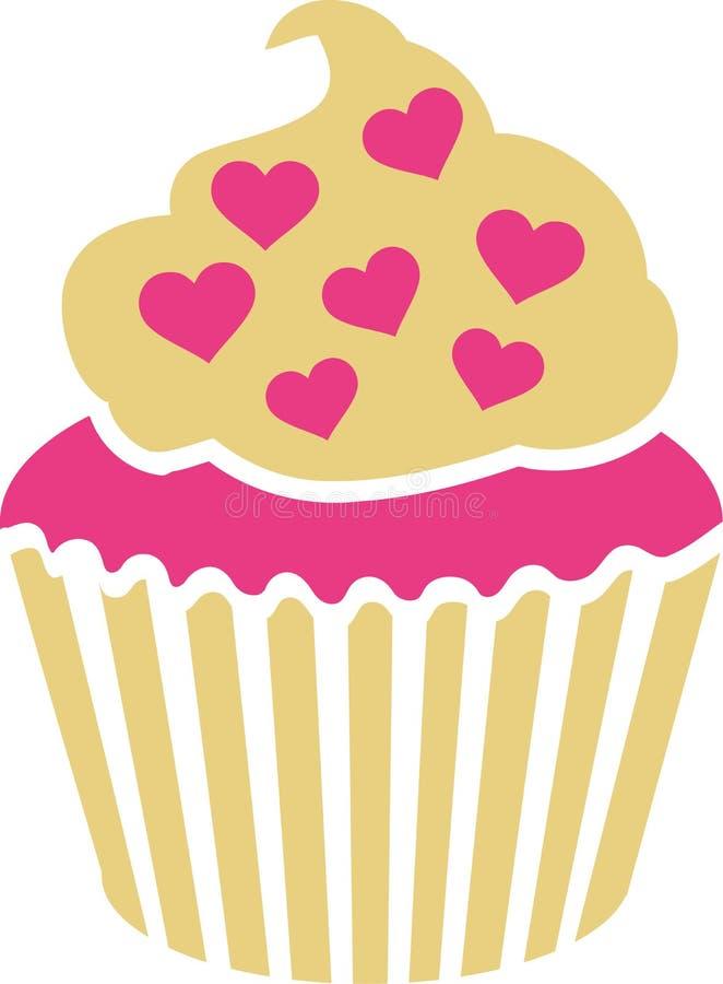 Cupcake με τις ρόδινες καρδιές ελεύθερη απεικόνιση δικαιώματος