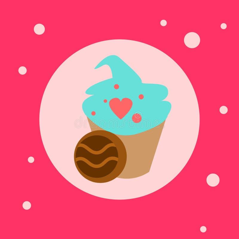 Cupcake με το εικονίδιο διακοσμήσεων μορφών καρδιών στο ρόδινο υπόβαθρο απεικόνιση αποθεμάτων
