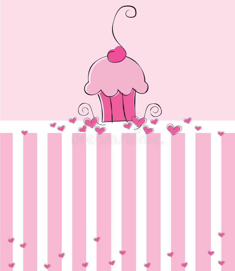 cupcake πρόσκληση διανυσματική απεικόνιση