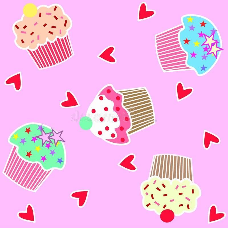 cupcake πρότυπο άνευ ραφής ελεύθερη απεικόνιση δικαιώματος