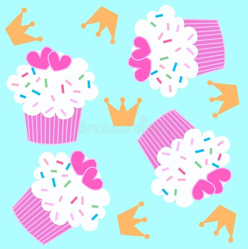 cupcake πρότυπο άνευ ραφής διανυσματική απεικόνιση