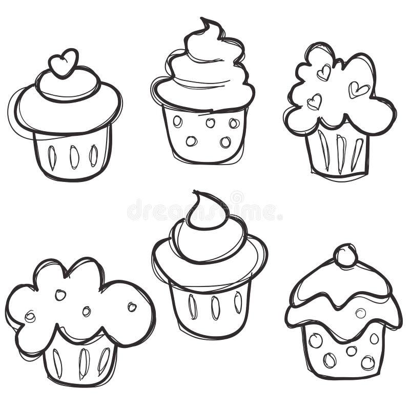 cupcake συρμένο σύνολο χεριών διανυσματική απεικόνιση