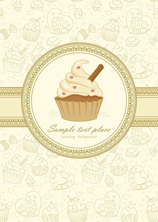 cupcake τρύγος πλαισίων απεικόνιση αποθεμάτων
