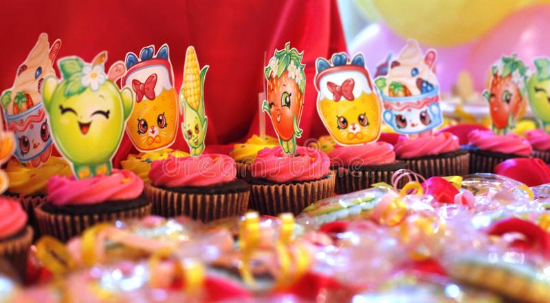 Decorated cupcakes for birthdays royalty free stock photo