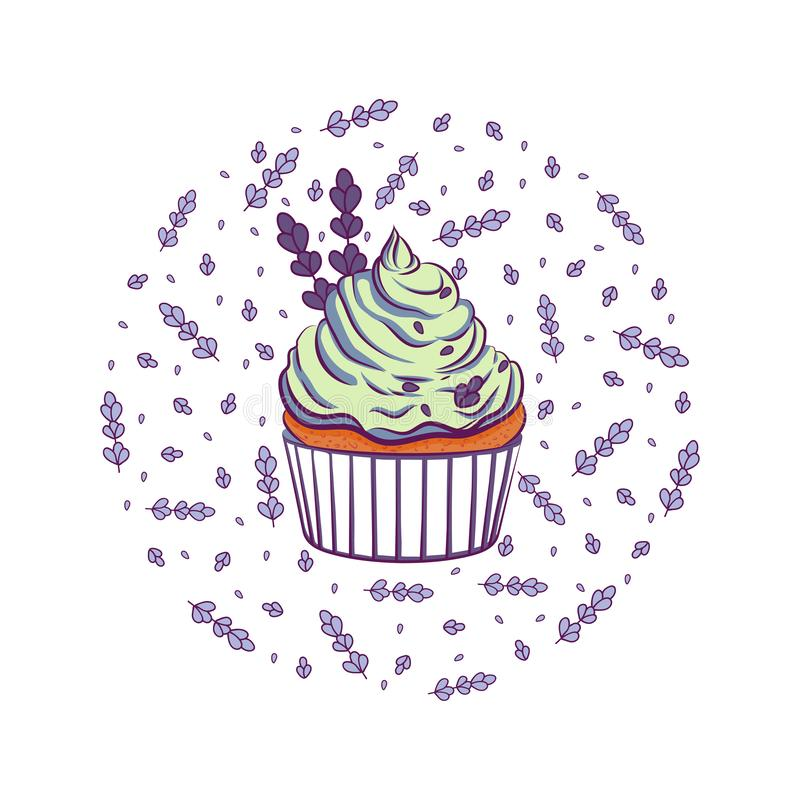 Cupcake avec lavande illustration stock