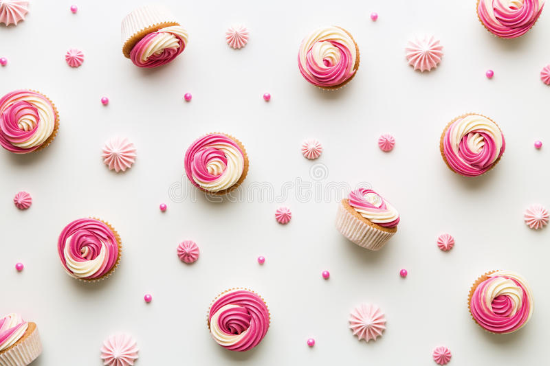Cupcake background on white stock images