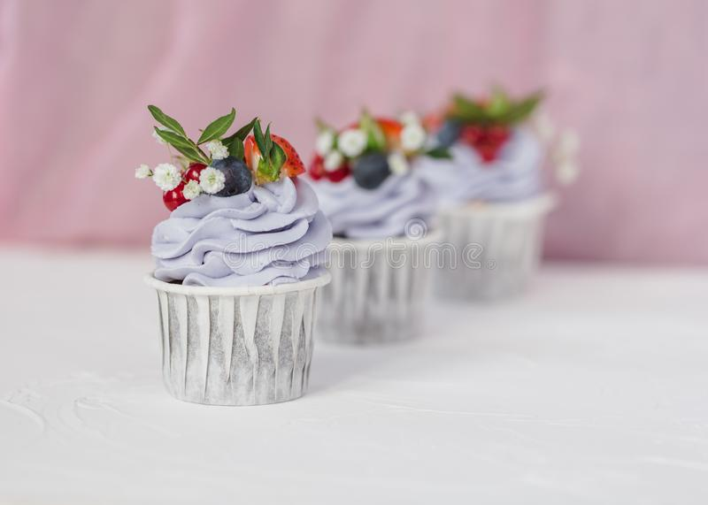 Cupcake with berries and mascarpone royalty free stock photo