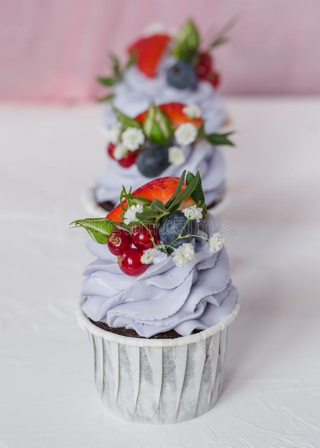 Cupcake with berries and mascarpone stock image