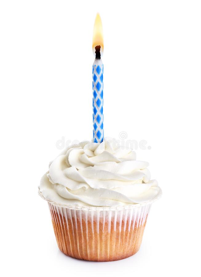 Cupcake with birthday candle royalty free stock photography