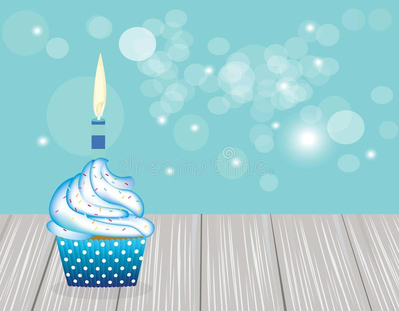 Cupcake with blue candle on blue blurred background, vector illustration