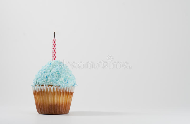 Cupcake With Blue Cocunut Icing Stock Photos